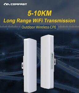Image 1 - Stokta var! COMFAST uzun menzilli 5KM açık kablosuz erişim noktası yönlendirici Wi fi köprüsü 300Mbps 5Ghz WIFI CPE 2 * 14dBi WI FI anten Nanostation