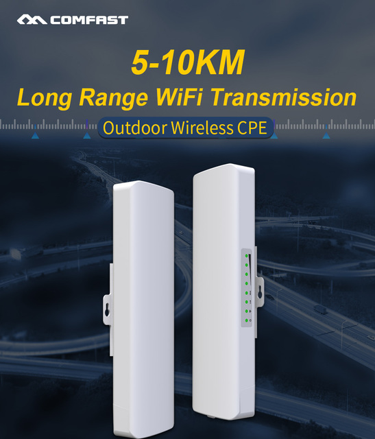Stokta var! COMFAST uzun menzilli 5KM açık kablosuz erişim noktası yönlendirici Wi fi köprüsü 300Mbps 5Ghz WIFI CPE 2 * 14dBi WI FI anten Nanostation