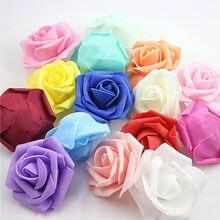 Cabeza 6 cm flor Flores artificiales boda decoraciones PE espuma rosas Flores DIY Scrapbooking decoración guirnalda del hogar