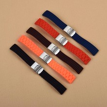 Купить с кэшбэком 5 colors 18mm 20mm 22mm 24mm Universal Link Bracelet Rubber Silicone Watchband Wrist Strap Soft Waterproof For Men Women Watches
