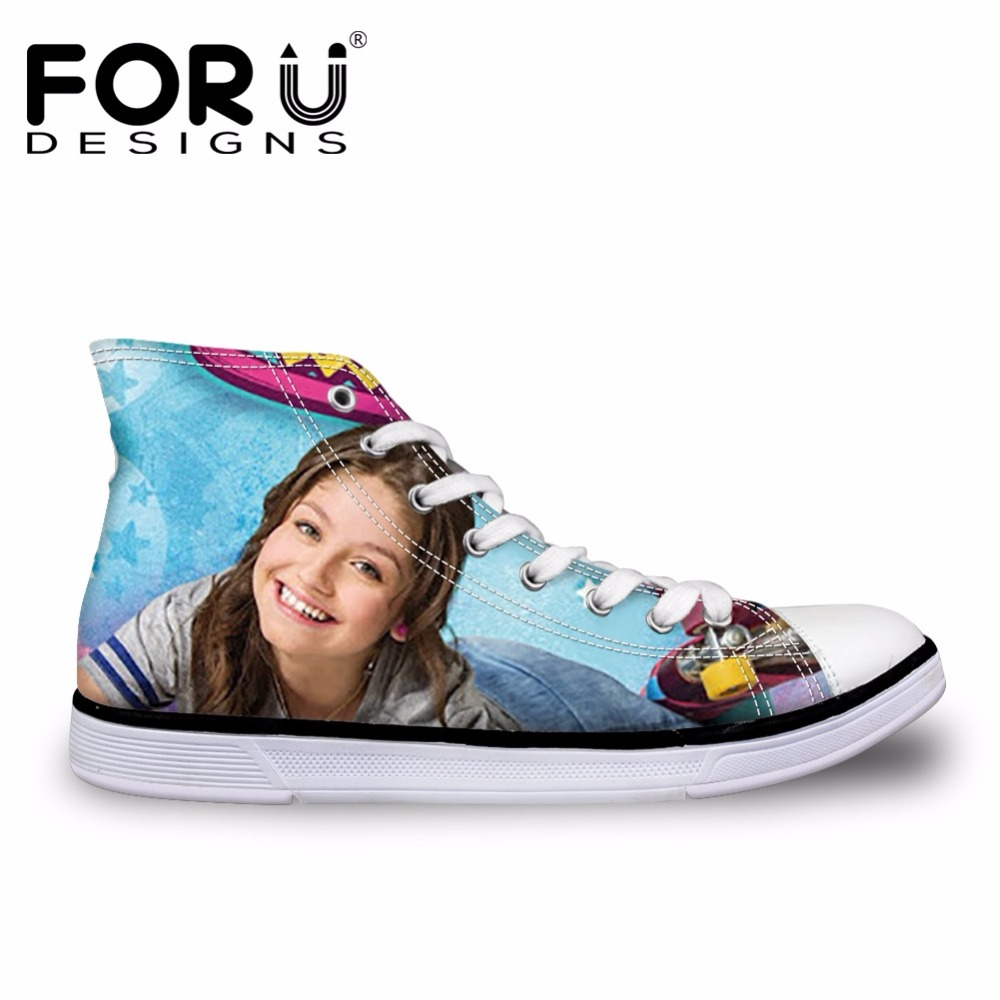FORUDESIGNS Soy Luna Girl Printing Women's Vulcanize Shoes Teenagers High Top Canvas Shoes for Students Fashion Summer Flat Shoe soy luna live toulouse