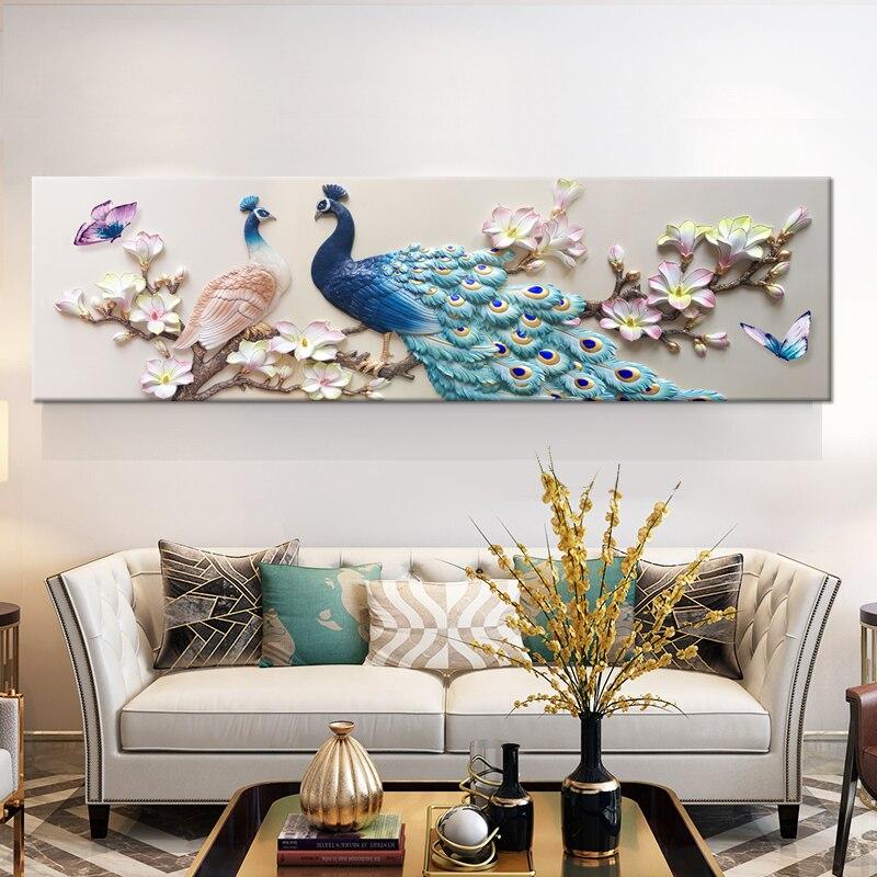 Картины на холсте hd качество для домашнего декора принты синий павлин картины цветок белой орхидеи плакат гостиной стены искусства рамки