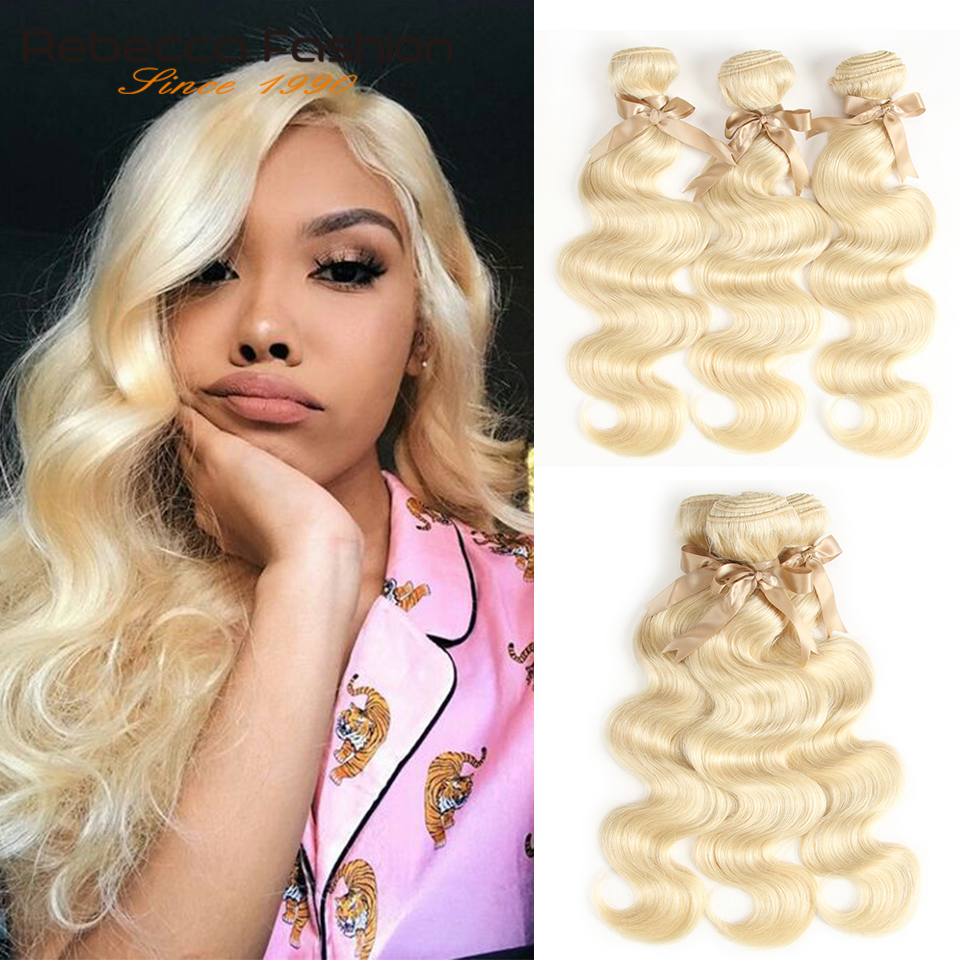 Rebecca 613 Honey Blonde Bundles Body Wave Brazilian Hair Weave Bundles 100% Remy Hair Extensions 1/3/4 Bundles 10 to 26 Inches-in Hair Weaves from Hair Extensions & Wigs