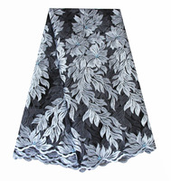 Ourwin Nigeria Lace Fabric 2018 Silver Black Dubai Fabric Polyester Embroidery Lace Fabric Royal Blue Peach Blush Pink Lace