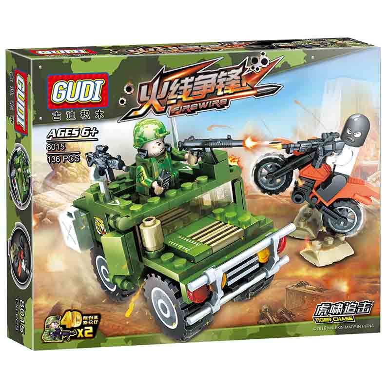 GUDI 8016 Military series War Scenes Firewire Tank Missile Model Building blocks  Accessory DIY Toys Set For Children gudi new toys educational assembled military war weapon vehicle tank plane 8 in 1 plastic building blocks toys for children