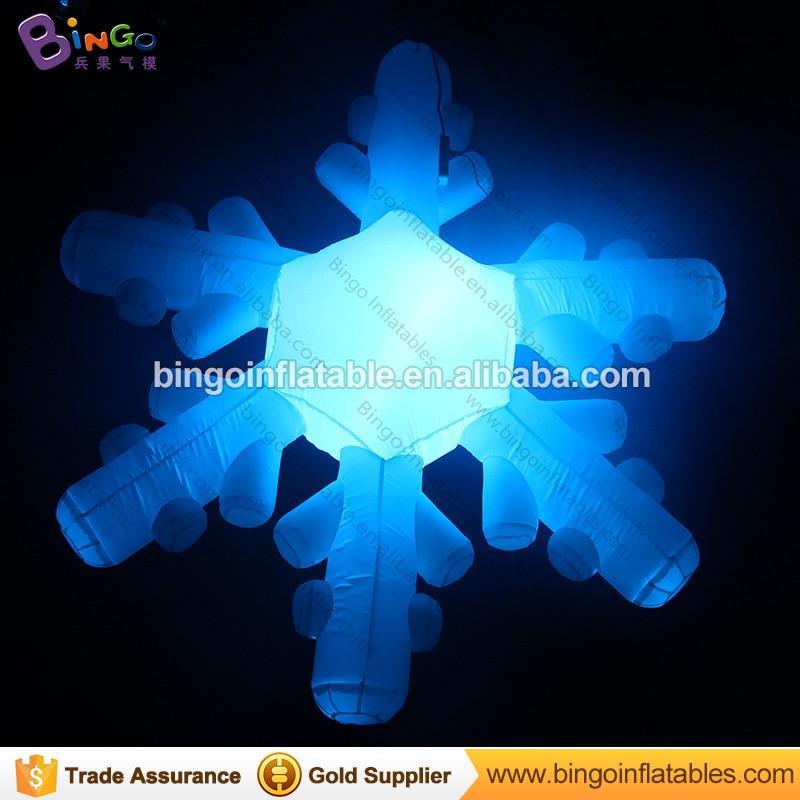 Livraison gratuite 2.5 m LED modèle de flocon de neige gonflable pour la décoration de fête de noël coloré flocon de neige lumière ballon jouets