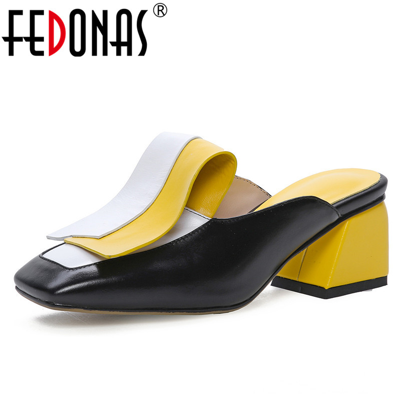FEDONAS Fashion Vintage Mixed Colors Mules Women Pumps Summer New Genuine Leather Sandals Square Toe Square