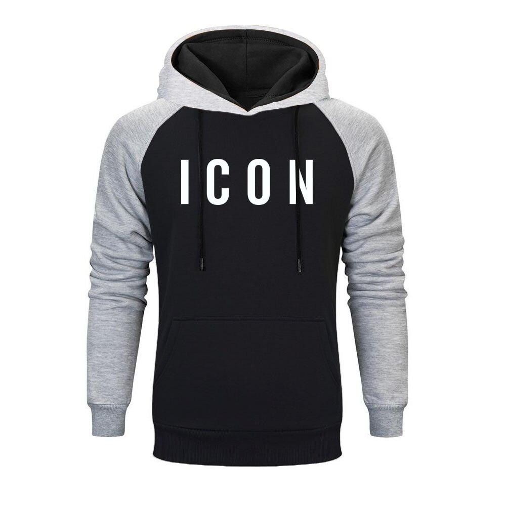 Hot Sale 2019 Fashion Icon Raglan Hoodies Sweatshirt Hoodie Funny Casual Hip Hop Hoodies Men Simple Print Pattern Men Clothing