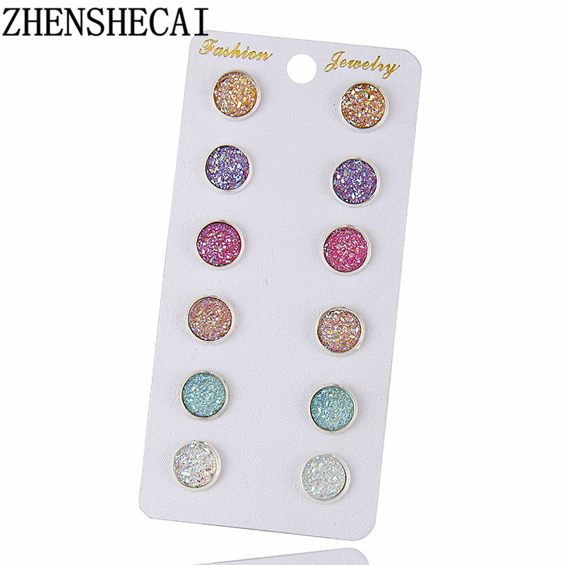 New Fashion Crystal Rhinestone Stud Earrings for Women Girl Female Mixed 6 Colors Boucle D'oreille Pendientes Mujer e0265
