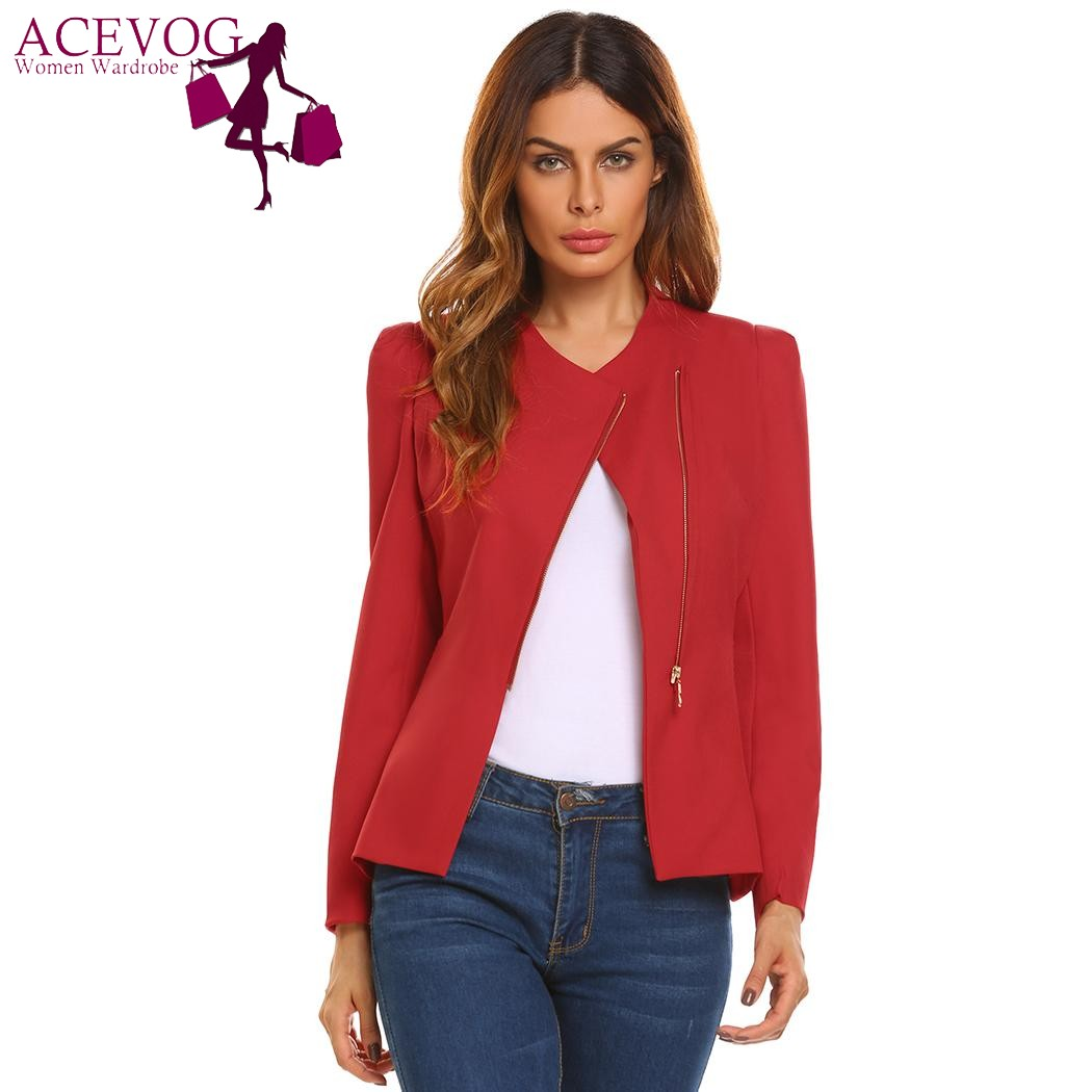 ACEVOG Autumn Women Fashion Blazer Oblique Zipper Casual Long Sleeve Ladies Suit Solid Fit Coat OL Office Lady Jacket Outwear