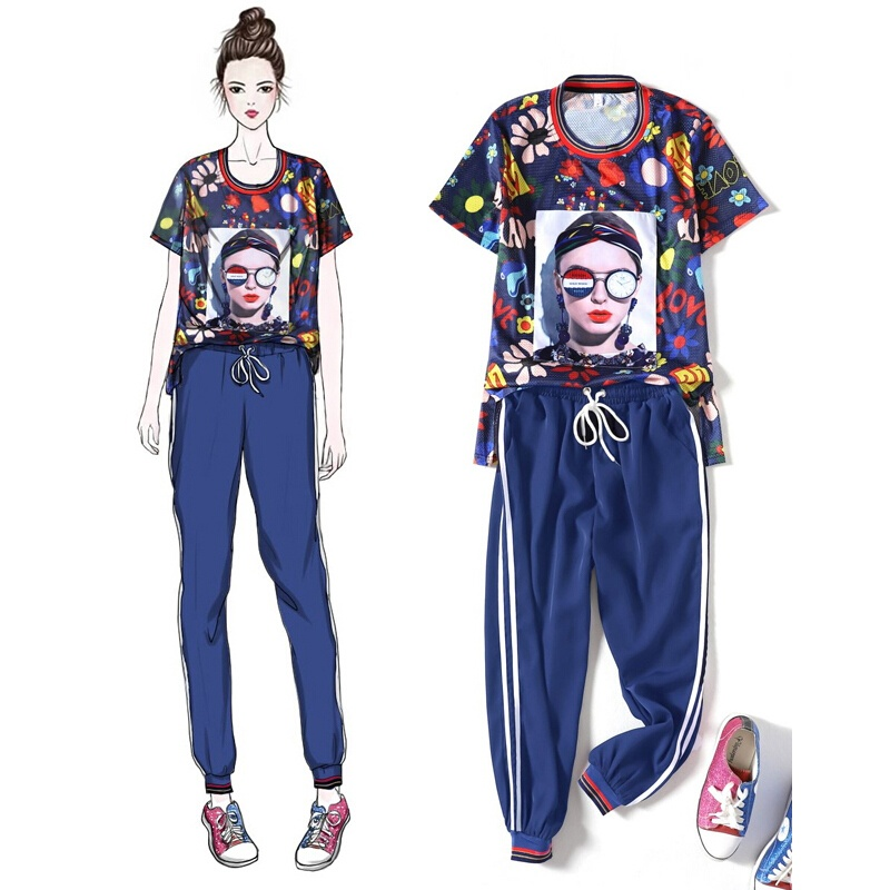 2 Piece Women Outfits Women Oversize Printed Sets Blue Mesh Top Pants Causal Suit