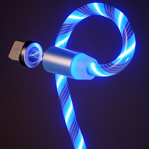 1m Magnetic charging Mobile Phone Cable USB Type C Flow Luminous Lighting Data Wire for Samsung Huawei LED Micro Kable