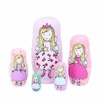 5 Camadas Crianças Brinquedos Princesa Boneca Bonecas De Madeira Do Assentamento Do Russo de Matryoshka Handmade Artesanato Presentes Miúdo Brinquedo De Fadas Meninas M