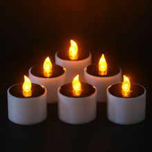 6 Pcs/Set Yellow Flicker LED Lights Solar Power Candles Flam