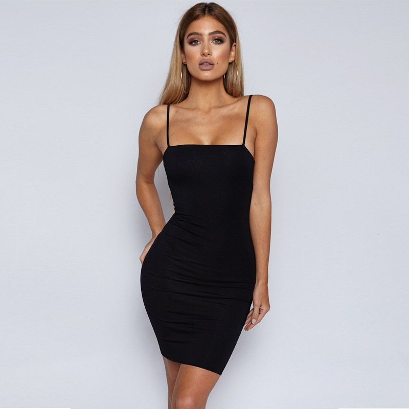 6638359065731 Fashio Camisole Sleeveless Sexy Bodycon Slim Mini Dress 2018 Summer Women  Clothes Backless Black Wrap Dresses Club Wear