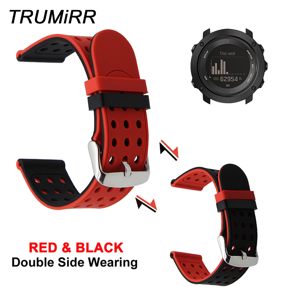 Silicone Rubber Watchband Double Side Wearing Strap for Suunto 9 / Ambit 3 Vertical / Spartan Sport HR Watch Band Wrist BraceletSilicone Rubber Watchband Double Side Wearing Strap for Suunto 9 / Ambit 3 Vertical / Spartan Sport HR Watch Band Wrist Bracelet