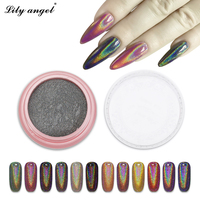 2g Box Laser Silver Holographic Shiny Powder Magic Mirror Powder Nail Glitters Nail Art Sequins Chrome