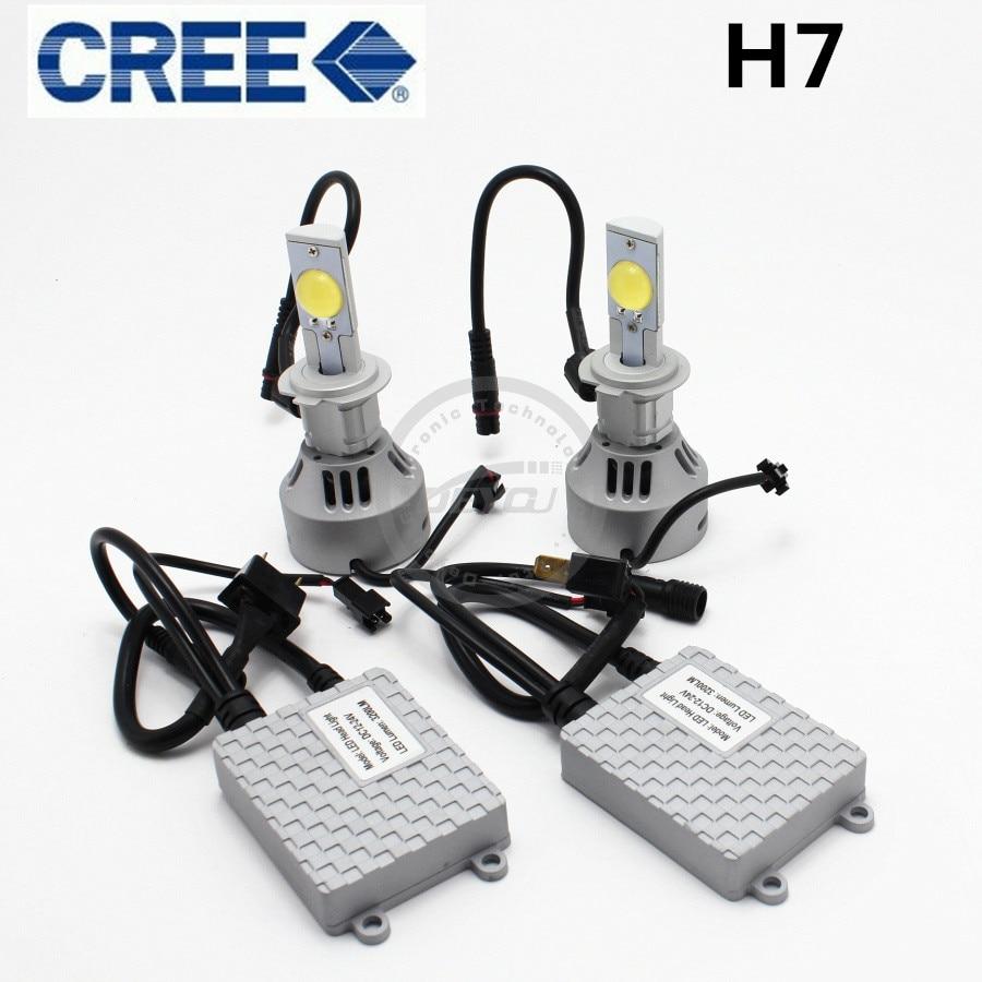 2pcs lot h7 power 80w 6400lm cree led headlight conversion kit replaces 12v 24v car truck. Black Bedroom Furniture Sets. Home Design Ideas