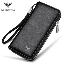WILLIAMPOLO 2019 100% Cowhide Leather Men Long Wallet Large Compartment 35 Card Holder Portefeuille Homme Cuir PL171333