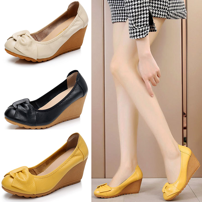 LIHUAMAO Cow Leather beige wedges shoes for women high heel pumps party work wedding shoes comfortbale skid resistance hot sell