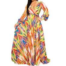 New Women Long Formal Prom Floral Boho Chiffon Dress Autumn Beach Party Hollow Out Sleeve Maxi Sundress + Belt Femme