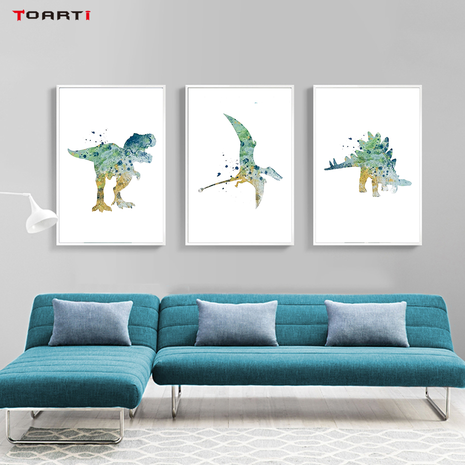 Watercolor Cartoon Animals Posters Prints Dinosaur Canvas Painting On The Wall For Living Kids Room Home Decor Art Pictures