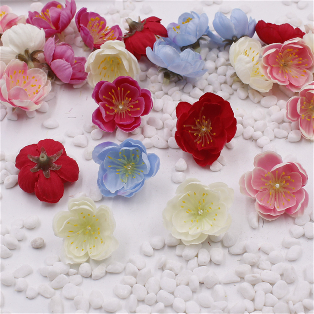 Cheap 3 2cm Silk Artificial Cherry Blossoms Flowers For Wedding Decoration DIY Decorative Rose Scrapbooking Craft Flores in Artificial Dried Flowers from Home Garden