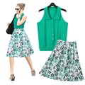 Fashion 2 Pieces Women Sets Knitted Tank Tops and Midi Skirt Sets Floral Printed Skirt and Summer Blouse Suits 2016 Plus Size XL