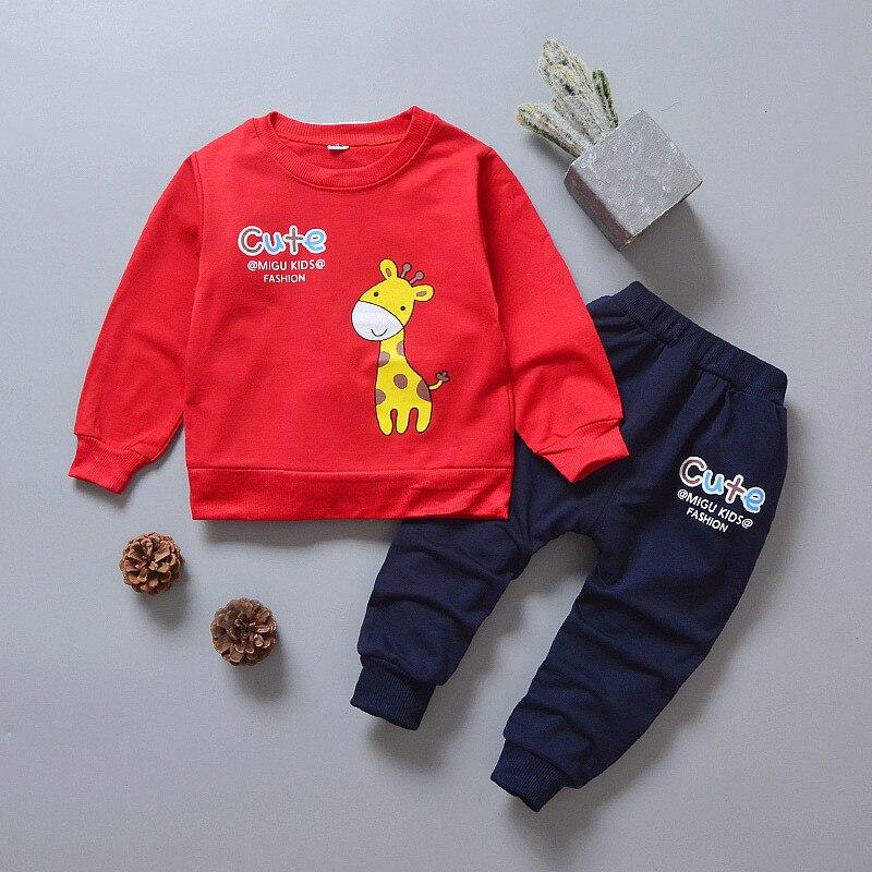 BibiCola boys clothing sets new 2018 autumn spring children girls boys cartoon sport suit kids sweatshirt+pants tracksuit sets