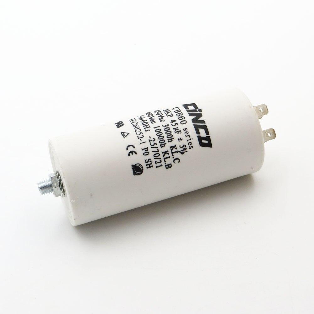 Moteur électrique | CBB60, condensateurs, moteur, 45 uF 400 450 V, 4 broches SH DB, Film de polypropylène, pompe à eau Ac, moteur électrique mfd mf VAC Volt