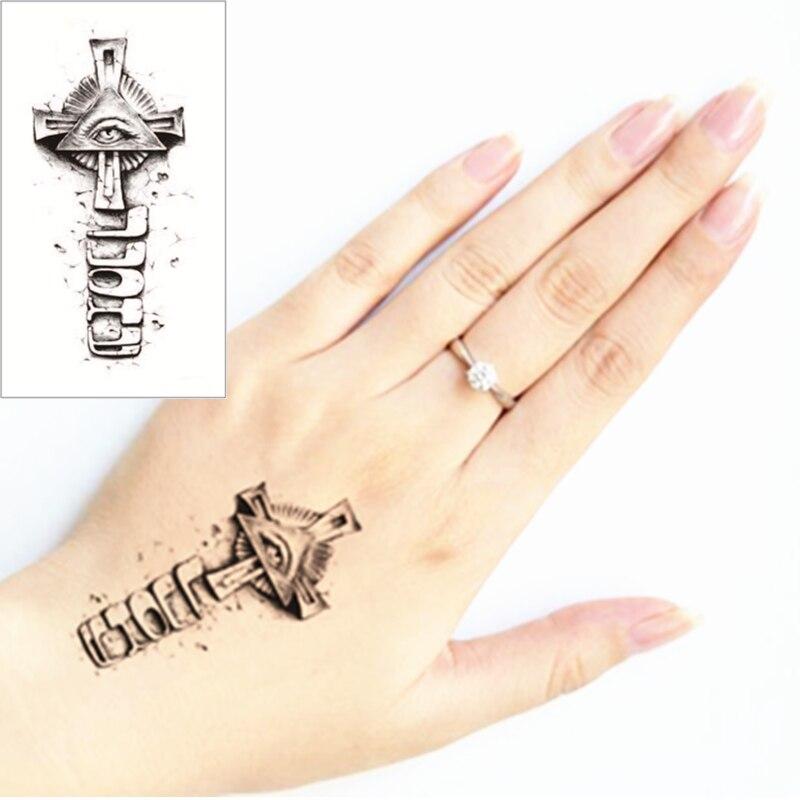 Aprende Tatuaje Profesional V1 0 ᐃshnapign 25 estilo tatuaje temporal cuerpo arte, cruz negro
