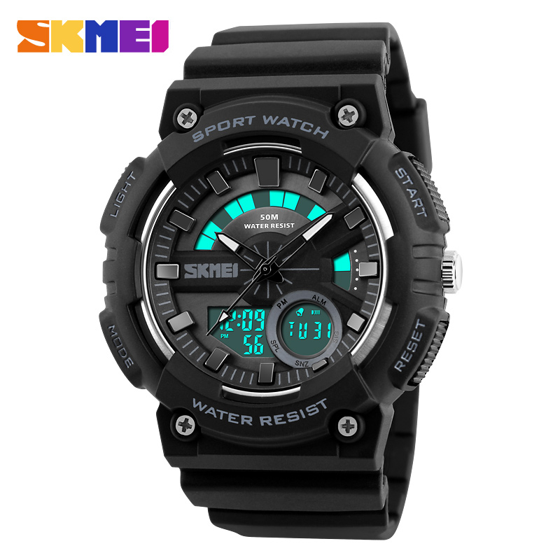 SKMEI Men Dual Display Wristwatches 4 Colors Waterproof Chronograph Clock Fashion Outdoor Sports Watches Relogio Masculino