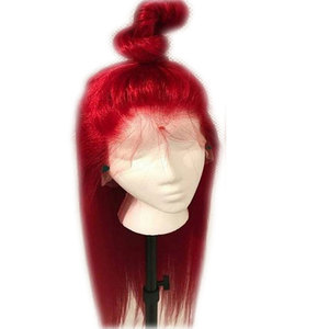 Image 1 - Bombshell Red Long Straight Synthetic Hand Tied Lace Front Wigs Glueless Heat Resistant Fiber Hair Natural Hairline For Women