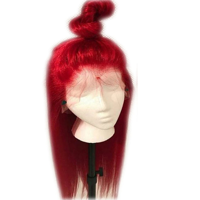 Bombshell Red Long Straight Synthetic Hand Tied Lace Front Wigs Glueless Heat Resistant Fiber Hair Natural Hairline For Women