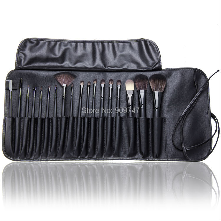 Professional Makeup Brushes Set 18Pcs Brushes in Black Leather-Like Ties Case Cosmetic Brushes & Tools twister family board game that ties you up in knots