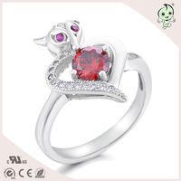 Fashionable Sterling Silver 925 Jewelry Korean Ruby Rhinestone Rings For Engagement Party Women Fox Ring Silver