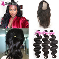 Lace Frontal Weave With Baby Hair Body Wave Lace Frontal Closure With 3 Bundles Mink 8A Indian Virgin Hair With 360 Band Frontal