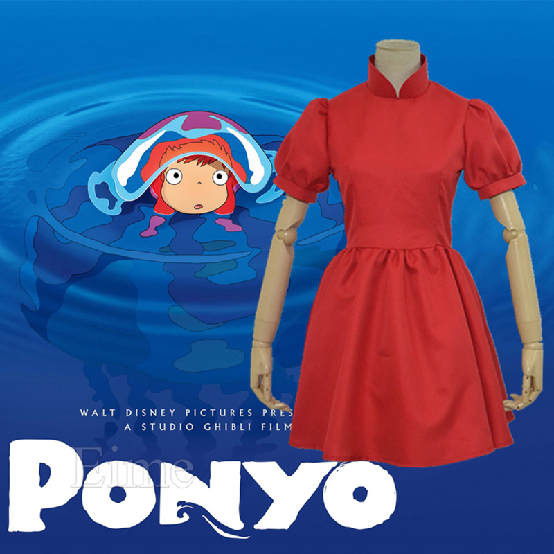 Hayao Miyazaki Movie PONYO Cosplay Costume Lovely Halloween Red Dress Custom Made For Female and Kids image