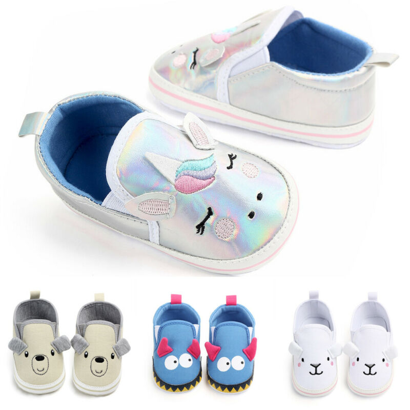 2019 Cute Newborn Baby Girl Boy Canvas Crib Shoes Unisex Baby Soft Sole Anti-slip Sneaker Shoes Animal Ears Baby Shoes 0-12M