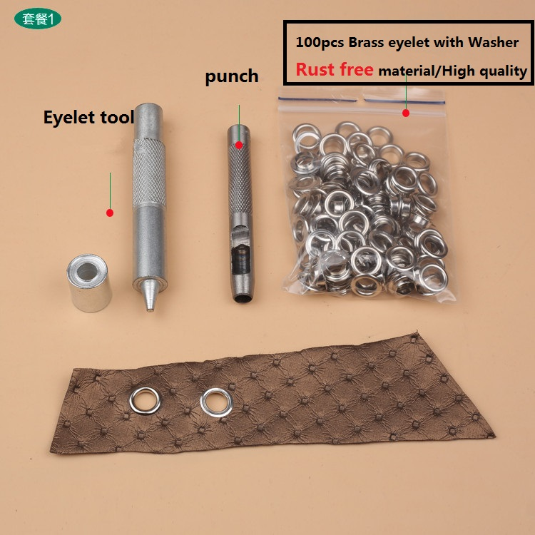 100pcs Silver 8mm 10mm Eyelets Hollow Punch Tools Kit Leather Craft Belt Clothes Clothing Bags Shoes Hats DIY Manual Accessory