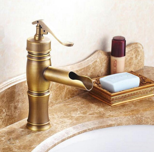 "NEW ""Water Pump Look"" Style Antique Brass Single Handle Bathroom Deck Mounted Faucet Vessel Sink Basin Mixer Tap anf045"