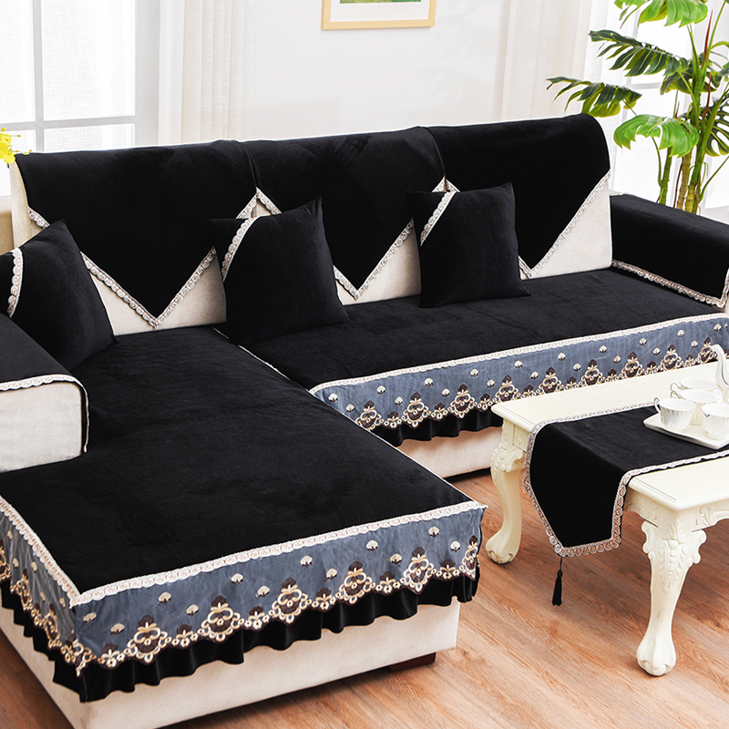 Short plush black European lace sofa cushion Four seasons