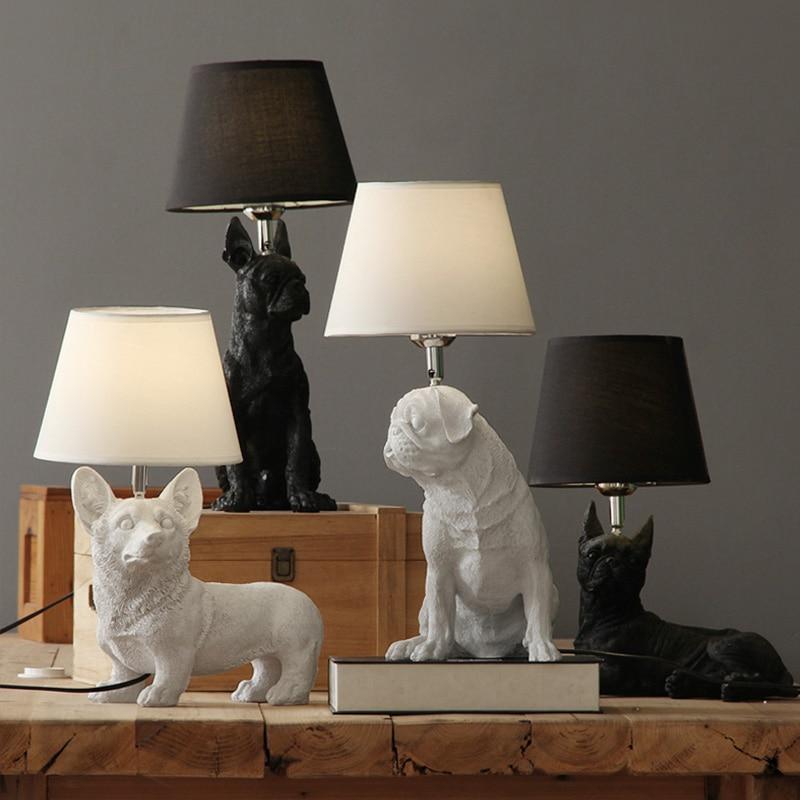 Художественный декор, настольная лампа из смолы для спальни, гостиной, детской комнаты, Детская прикроватная лампа, для собак, Anmails, настольная лампа, черная с абажурами