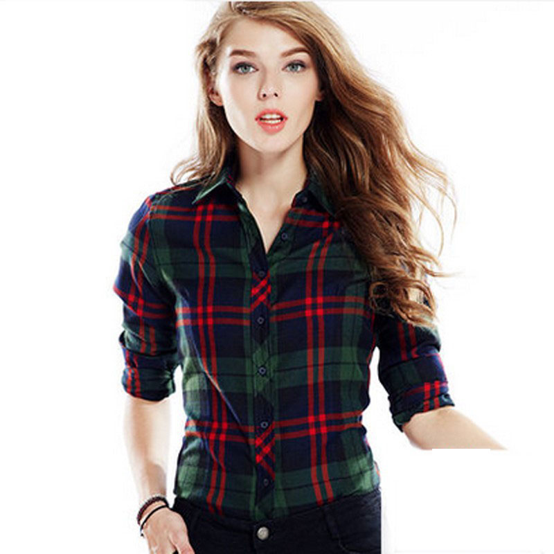 Cwlsp 100 cotton plaid blouses shirts women outwear long for Women s 100 cotton long sleeve tee shirts