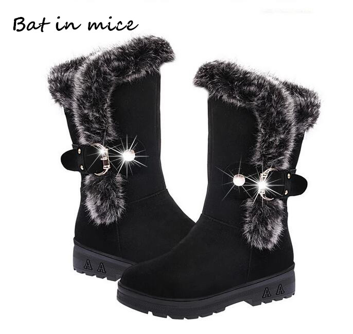 цена fashion New Ladies non-slip Winter Women casual Warm Fur Mid-Calf Boots women flat Round Toe Slip-On Snow Boots women mujer W172