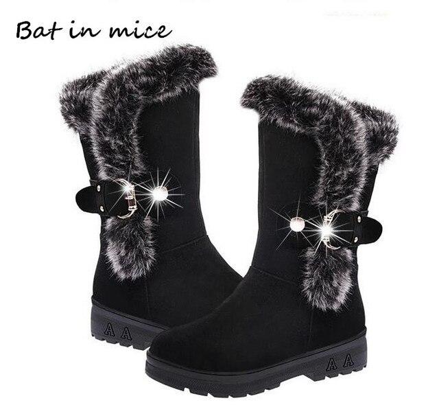 แฟชั่นผู้หญิงใหม่ non - slip ฤดูหนาวผู้หญิงอบอุ่นขนสัตว์ Mid - Calf รองเท้าผู้หญิงแบนรอบนิ้วเท้า - หิมะรองเท้าผู้หญิง mujer W172