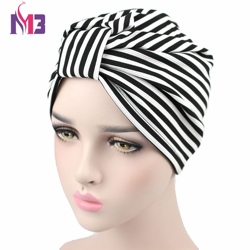 New Fashion Women Turban Striped Knit Breathable Turban Headband Casual Headwrap Cover Hijab Bonnet Turbante   Headwear