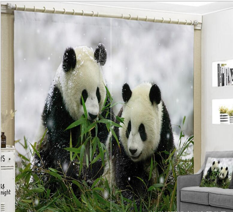 Panda curtains green bamboo forest print 3D Window living room office Bedroom High precision Cortina Drapes Rideaux pillowcase in Curtains from Home Garden