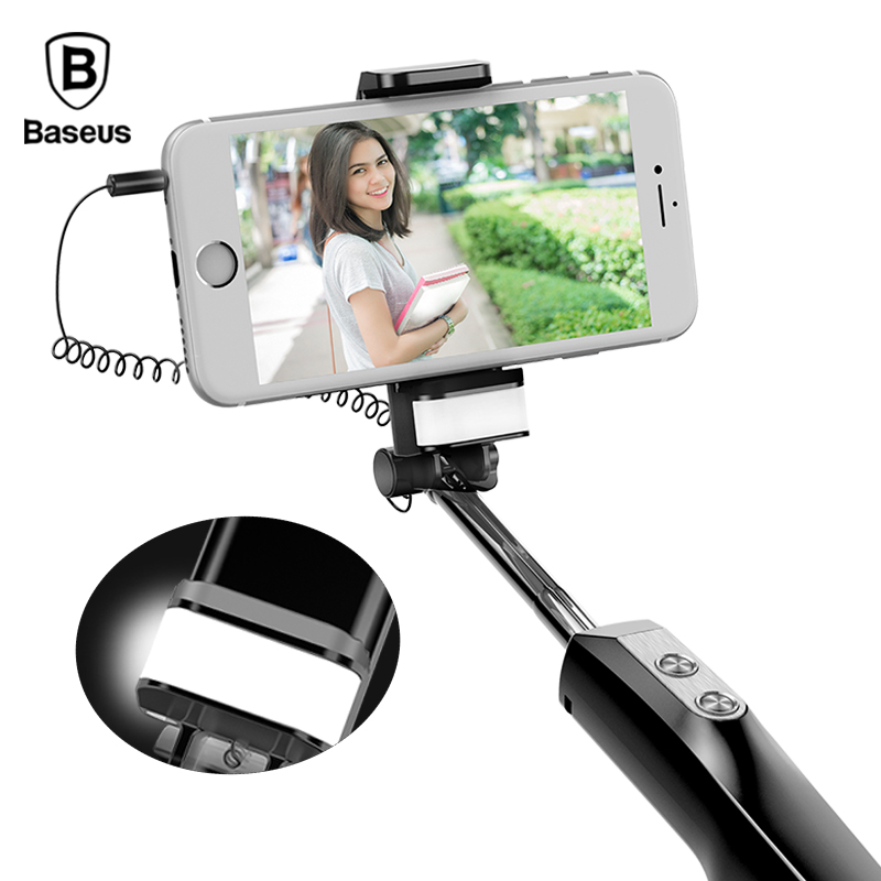 Baseus Wired Selfie Stick Con La Luce di Riempimento + Specchio Selfiestick Monopiede Per iPhone X 8 7 6 Samsung Xiaomi Android telefono Spiedi