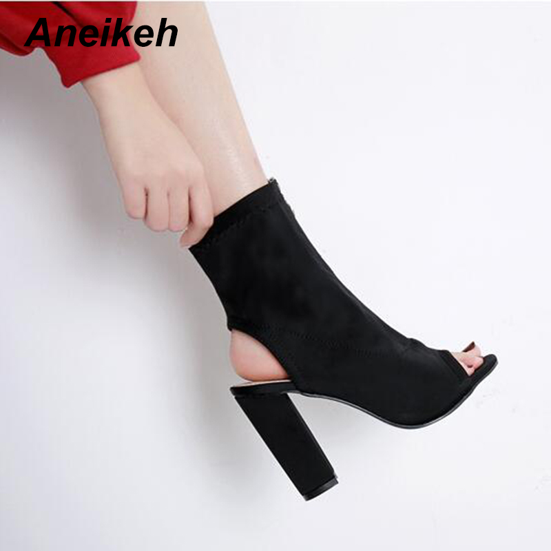 Zapatos De Tacón Alto Sandalias Botas Tobillo Mujer Black Peep Grueso Aneikeh Tacones Cremallera Cortas Hueco Moda Toe 4CqwtqxF